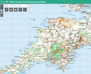 A screen shot of the Devon County Council Environment Viewer