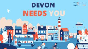 The text Devon needs you on a cartoon background filled with people cycling and shopping