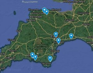 Map of Devon with blue dots locating each of the outdoor learning providers