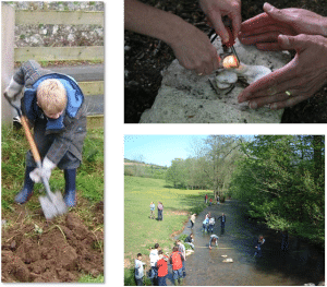 Children learning to light fires, work in the garden and playing in a stream